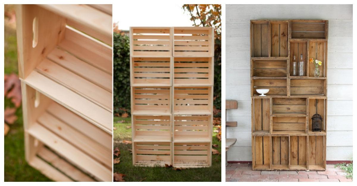 Construye esta hermosa y r stica biblioteca utilizando for Manualidades con cajones de madera